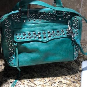 REBECCA MINKOFF TEAL LEATHER BAG /WITH SILVER CIRC